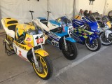 Oct 2017 Jarama Spain Suzuki RGB500 Power Valve, Kenny Roberts Junior  RGV500 and the Sito Pons XR45 . for the  50th Anniversary Meeting