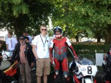 Goodwood festival of Speed 2014 Steve Griffith with son Jordan griffith on The Suzuki XR23 680 Pat Hennen Barry Sheene 680cc RG 500