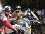 Glorious Goodwood festival of Speed Charley Boorman BMW and Steve Griffith Suzuki Heading for the Hill with freddie Spencer and Wayne Gardner
